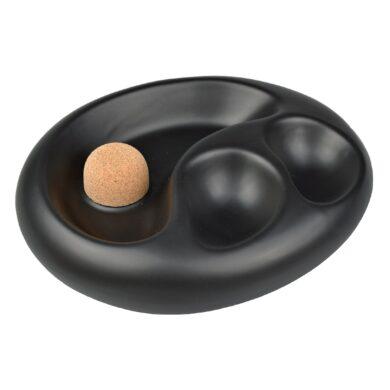 Dýmkový popelník na 2 dýmky keramický černý matný(520114)