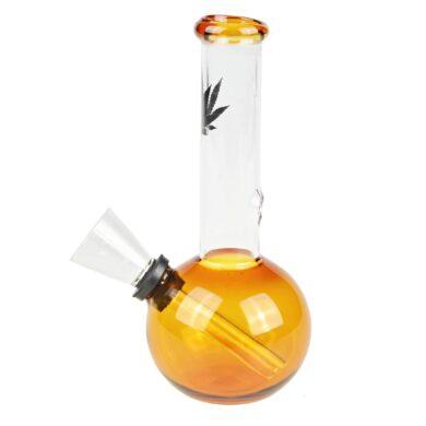 Skleněný bong Leaf oranžový 13cm(02907MIXO)