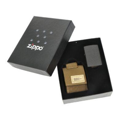 Dárková sada Zippo Black Crackle + Brown Pouch(Z 259114)