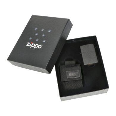 Dárková sada Zippo Black Crackle + Black Pouch(Z 259115)
