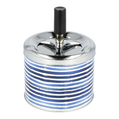 Cigaretový popelník kovový otočný 9cm, blue stripes(400626)