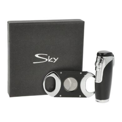 Sada pro kuřáky doutníků Sky, zapalovač, vyštípávač, černostříbrná(238353)