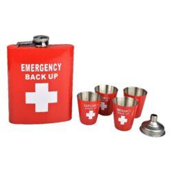 Placatka s pohárky sada Emergency, 237ml-Sada placatka na alkohol (likérka) Emergency Back Up s pohárky. Likérka je vyrobená z kvalitního nerezové plechu a její povrch je v pololesklém červeném provedení s bílým motivem. V této atraktivní placatce budete mít vždy vaše oblíbené pití při sobě. Placatka má objem 237ml (8oz). Obsah sady: likérka, 4 pohárky, nálevka. Rozměry placatky: 9,3x13,3x2,3cm.