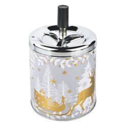 Cigaretový popelník kovový otočný Christmas, zlatý-Vánoční cigaretový popelník otočný Christmas. Větší samozhášecí kovový popelník na cigarety s vánočním motivem v šedozlatém provedení. Průměr popelníku 9,5 cm, celková výška 16 cm.