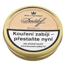 Dýmkový tabák Davidoff Royalty, 50g-Dýmkový tabák Davidoff Royalty. Typická anglická směs neobyčejné kořeněnosti a středně silné chuti. Vytvářená tradiční metodou z Virginia a orientálních tabáků s přidáním stopy kořeněných Latakia tabáků. Balení plechová krabička 50g.