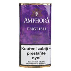 Dýmkový tabák Amphora English, 50g-Kvalitní dýmkový tabák Amphora English. Lahodná tabáková dýmková směs kombinující jemné kouřové tóny Latakie s přirozenou skadkostí Virginie. Balení pouch 50g.