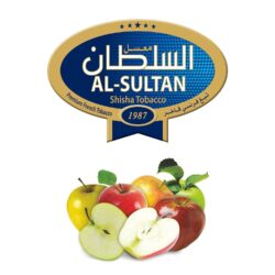 Tabák do vodní dýmky Al-Sultan 5 Apples (3), 50g/Z-Tabák do vodní dýmky Al-Sultan 5 Apples s příchutí pěti druhů jablek. Tabáky Al-Sultan vyráběné v Jordánsku jsou známé svojí šťavnatostí, skvělou vůní, chutí a bohatým dýmem. Tabák do vodní dýmky je dodávaný v papírové krabičce po 50g.