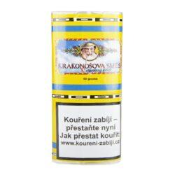 Dýmkový tabák Krakonošova směs, 40g/V-Dýmkový tabák Krakonošova směs. Nejprodávanější tabák oblíbený pro svoji jemnost a chuť. V této směsi najdeme chutě Virginských a Burley tabáků, ke kterým jsou přidány výtažky z bylin. Krakonošova směs je vhodnou volbou pro každodenní kouření. Balení pouch 40g.