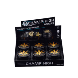 Drtič tabáku kovový Champ High ALU Golden Leaf 63mm, černý(506166)