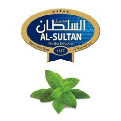 Tabák do vodní dýmky Al-Sultan Mint (63), 50g/F-Tabák do vodní dýmky Al-Sultan Mint s příchutí máty. Tabáky Al-Sultan vyráběné v Jordánsku jsou známé svojí šťavnatostí, skvělou vůní, chutí a bohatým dýmem. Tabák do vodní dýmky je dodávaný v papírové krabičce po 50g.