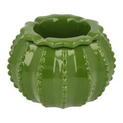 Cigaretový popelník keramický Cactus-Venkovní cigaretový popelník Cactus. Barevný keramický popelník ve tvaru kaktusu má povrch v lesklém glazurovaném provedení, díky kterému se bude lépe čistit. Popelník vhodný nejen pro venkovní prostory je vybavený odklady pro čtyři cigarety a skládá se ze dvou částí. A to prostorem pro popel a částí přiklápěcí, která zabraňuje popelu se dostat ven. Popelník je dodávaný v kartonové krabici. Cena je uvedena za 1 ks. Před odesláním objednávky uveďte číslo barevného provedení do poznámky.  Rozměry popelníku: Celková výška/průměr: 100 mm / 145 mm
