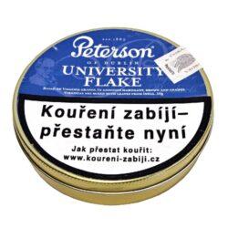 Dýmkový tabák Peterson University Flake, 50g-Dýmkový tabák Peterson University Flake. Klasická irská tabáková směs tvořená Burley a kentuckými tabáky, která má jedinečnou přírodní chuť a vůni. Silnější směs vhodná pro náročnější kuřáky dýmky. Balení plechová krabička 50g.