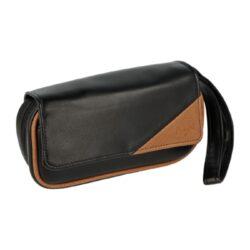 Pouzdro na 2 dýmky Etue Angelo, černé-hnědý roh, koženka-Etue - pouzdro na 2 dýmky se zipem a vnitřní kapsou na kuřácké potřeby. Černé pouzdro na dýmku je koženkové.