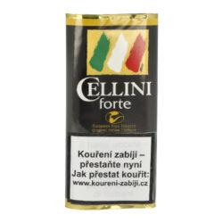 Dýmkový tabák Cellini Forte, 50g-Dýmkový tabák Cellini Forte. Středně silný tabák, namíchaný z Burley, Black Cavendish a Virginie tabáků. Chuť je zvýrazněna červeným italským vínem Barolo. Balení pouch 50g.