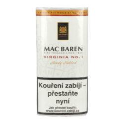 Dýmkový tabák Mac Baren Virginia No.1, 50g-Velmi kvalitní a oblíbený dýmkový tabák Mac Baren. Směs spíše přírodního typu z vybraných listů zlaté Virginie s jemným sladkým aroma. Balení pouch 50g.