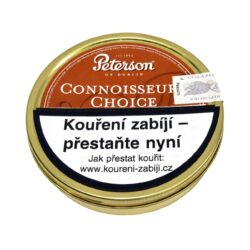 Dýmkový tabák Peterson Connoisseurs Choice, 50g-Dýmkový tabák Peterson Connoisseurs Choice. Kořeněná tabáková směs Black Cavendishe, Golden a Red Virginie namíchaná s roztrhaným flakem. Jemná a příjemná směs je výborně dochucená rumem, vanilkou a tropickým ovocem. Balení plechová krabička 50g.