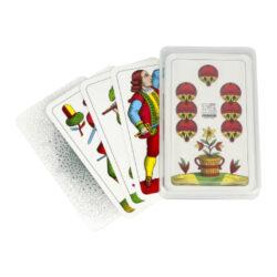 Mariášové karty jednohlavé, plastová krabička-Mariášové jednohlavé karty v plastové krabičce.