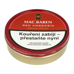 Dýmkový tabák Mac Baren Cherry Ambrosia, 100g-Velmi kvalitní a oblíbený dýmkový tabák Mac Baren. Vyvážená a chutná dýmková směs s menším množstvím tabáku Burley a převahou tabáku Virginie s velmi jemným a málo znatelným aroma. Balení plechová krabička 100g.