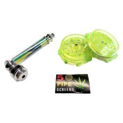 Drtič tabáku plastový, šlukovka-Plastový drtič tabáku dvojdílný, šlukovka a sítka do šlukovky v dárkové sadě.