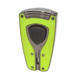 Tryskový zapalovač Lamborghini Forza, zelený-Stylový tryskový zapalovač Tonino Lamborghini Forza. Kvalitně zpracovaný zapalovač obsahuje na spodní straně nastavení intenzity plamene a ventil pro plnění. Na přední straně najdeme okénko, kde je možné vidět hladinu plynu v zapalovači. Tryskový zapalovač je dodáván v kožené krabičce vyložené jemným sametem. Výška 7cm.