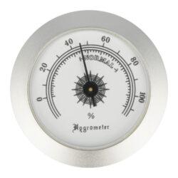 Vlhkoměr kulatý, 50mm-Standardní vlhkoměr Angelo do humidoru. Provedení chrom. Vnější průměr: 50 mm Vnitřní průměr pro vložení: 47 mm