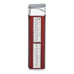 Dámský zapalovač Hadson Quadrina, červený, bílé kamínky Swarovski-Plynový dámský zapalovač Hadson Quadrina. Kovový zapalovač je zdobený bílými kamínky Swarovski a jeho povrch je v červeném metalickém provedení. Po stisknutí tlačítka se odklopí kryt a zapalovač se zapálí. Ve spodní části je umístěn plynový plnící ventil a regulace intenzity plamene. Dámský zapalovač je dodávaný v dárkové krabičce. Výška zapalovače 7,6cm.