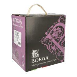 Víno Borga Merlot IGT 5l 11,5%, červené, Bag in box-Italské víno Borga Merlot IGT. Červené víno suché s rubínově červenou barvou s purpurovými odlesky, charakterizované lehkým zeleninovým a červeno ovocným buketem; víno dobré struktury, s lehkými taniny a zároveň měkké na patře. Balení: Bag in box, 5L.  Obsah alkoholu: 11,5% Výrobce: Azienda Vitivinicola di Borga G.& C. Vinařská oblast: Treviso, Itálie