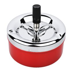 Cigaretový popelník otočný Angelo červený, kovový-Venkovní cigaretový popelník otočný Angelo. Velký samozhášecí kovový popelník na cigarety má průměr 11 cm a celkovou výšku 10 cm.