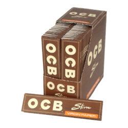Cigaretové papírky OCB Virgin Slim-Cigaretové papírky OCB Slim VIRGIN. Ultratenký nebělený papír. Knížečka 32 papírků. Prodej pouze po celém balení (displej) 50 ks.