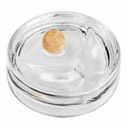 Dýmkový popelník skleněný kulatý, čirý-Dýmkový popelník s odkladem na dvě dýmky, skleněný. Kulatý popelník na dýmku má průměr 16cm.