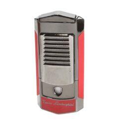 Tryskový zapalovač Lamborghini Sepang, červený-Značkový tryskový zapalovač Tonino Lamborghini Sepang vhodný k zapalování doutníků. Kvalitně zpracovaný zapalovač obsahuje na spodní straně nastavení intenzity plamene a ventil pro plnění. Na přední straně najdete okénko, kde je možné vidět hladinu plynu v zapalovači. Tryskový zapalovač je dodáván v kožené krabičce vyložené jemným sametem. Výška 8cm.
