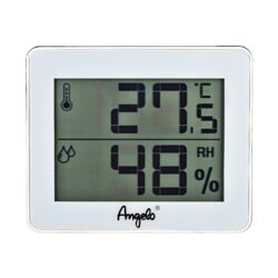 Vlhkoměr Angelo, 100x80x10mm, digitální-Jednoduchý velký digitální vlhkoměr, kterým přesně zjistíte okamžitou vlhkost v humidoru. Bateriový provoz. Provedení: bílé. Rozměr: 100x80x10 mm.