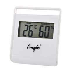 Vlhkoměr Angelo, 75x65x10mm, digitální-Jednoduchý malý digitální vlhkoměr, kterým přesně zjistíte okamžitou vlhkost v humidoru. Bateriový provoz. Provedení: bílé. Rozměr: 75x65x10 mm.