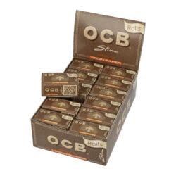 Cigaretové papírky OCB Rolls Virgin Slim-Cigaretové papírky OCB Rolls Slim Virgin. Délka 4m, šířka 44mm. Papírky jsou vyrobené z ultratenkého neběleného papíru s přirozenou hnědou barvou. Prodej pouze po celém balení (displej) 24ks.