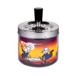 Cigaretový popelník otočný Firemans, kovový-Cigaretový popelník otočný Firemans. Samozhášecí popelník na cigarety je kovový, průměr 9,5cm.