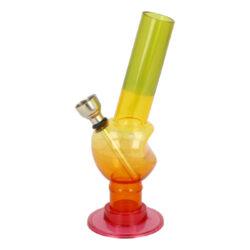 Bong Mini akryl (plast) 15cm, zalomený-Akrylový (plastový) bong Mini. Bong je dostupný ve více barvách. Cena je uvedena za 1 ks. Výška: 15 cm Průměr: 2,3 cm Materiál: akryl