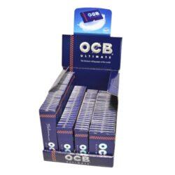 Cigaretové papírky OCB Ultimate Multipack-Cigaretové papírky OCB Ultimate Multipack. Nejlehčí papírky s váhou pouze 10g/m2 pro ještě větší požitek - to jsou papírky OCB Ultimate. Speciální balení obsahující čtyři různé velikosti cigaretových papírků OCB Ultimate.  Obsah balení OCB Ultimate Multipack: Ultimate Slim 32 knížeček/32 papírků - rozměry papírku: 45x109mm. Ultimate 1 1/4 25 knížeček/50 papírků - rozměry papírku: 45x77mm. Ultimate Single 25 knížeček/50 papírků - rozměry papírku: 36x69mm. Ultimate Double 25 knížeček/100 papírků - rozměry papírku: 36x69mm.  Prodej pouze po celém balení (displej) celkem 107 knížeček.