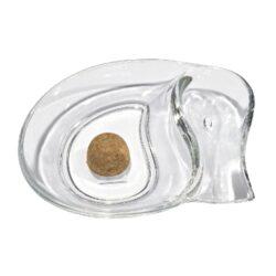 Dýmkový popelník skleněný malý, čirý-Dýmkový popelník s odkladem na jednu dýmku, skleněný. Popelník na dýmku má rozměry 19x15x3,5cm.