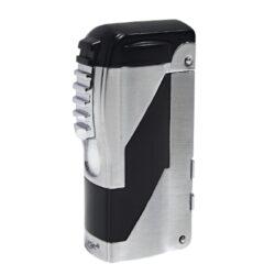 Doutníkový zapalovač Eurojet Santiago 2-Jet, černý-Doutníkový zapalovač. Tryskový zapalovač na doutníky obsahuje integrované vyštípávače třech velikostí. Zapalovač je plnitelný. Doutníkový zapalovač je dodáván v dárkové krabičce. Výška 6,6cm.
