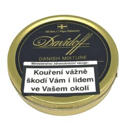 Dýmkový tabák Davidoff Danish Mixture, 50g-Dýmkový tabák Davidoff Danish Mixture. Výjimečná, klasická dánská směs vyráběná z nejlepších Virginia a Burley tabáků, obohacená o špetku tabáku Black Cavendish. Balení plechová krabička 50g.