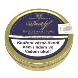 Dýmkový tabák Davidoff English Mixture, 50g-Kvalitní dýmkový tabák Davidoff English Mixture. Klasická a jemná anglická směs se středním řezem z pečlivě ručně vybíraných tabáků Virginia, Burley a Latakia. Pro zdůraznění bouquetu je přidán kořeněný tabák Périque. Balení plechová krabička 50g.