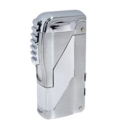 Doutníkový zapalovač Eurojet Santiago 2-Jet, chrom-Doutníkový zapalovač. Tryskový zapalovač na doutníky obsahuje integrované vyštípávače třech velikostí. Zapalovač je plnitelný. Doutníkový zapalovač je dodáván v dárkové krabičce. Výška 6,6cm.