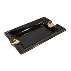Doutníkový popelník keramický, černozlatý-Doutníkový popelník na 2 doutníky, keramický. Popelník na doutníky má rozměry 18x12x3cm.