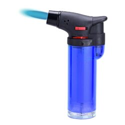 Tryskový zapalovač Prof Torch transparent-Tryskový zapalovač vhodný nejen k zapalování doutníků. Výborný též k zapálení uhlíků do vodní dýmky, krbů nebo grilů. Zapalovač je plnitelný a má pojistku proti zapálení. Výška zapalovače: 10,5cm.