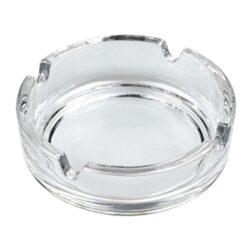 Cigaretový popelník skleněný, čirý-Cigaretový popelník skleněný kulatý. Průměr popelníku 10,5cm.