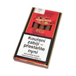 Doutníky Handelsgold Red bez špičky, 5ks-Doutníky Handelsgold Red bez špičky s příchutí cherry. Cigarillos jsou balené po 5 doutníčkách v papírové krabičce. Délka 96mm, průměr 9mm. Balení: 10 ks krabiček.