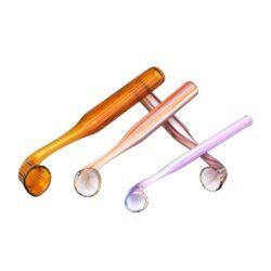 Šlukovka skleněná HM, barevná vroubkovaná-Skleněná šlukovka - skleněnka z barevného skla vroubkovaná. Šlukovka je vyráběna ručně v ČR. Šlukovka je dlouhá 10,5 - 12,5 cm.
