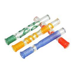 Šlukovka skleněná HM, zdobená ledová-Skleněná šlukovka - skleněnka čirá zdobená. Šlukovka je vyráběna ručně v ČR. Délka 8,5cm.