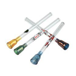 Šlukovka skleněná HM, čirá s obrázkem-Skleněná šlukovka - skleněnka čirá s potiskem. Šlukovka je vyráběna ručně v ČR. Délka šlukovky je 8,5 cm.