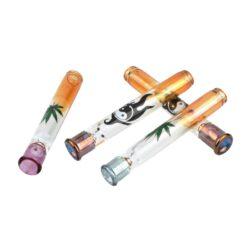Šlukovka skleněná HM, barevná s obrázkem-Skleněná šlukovka - skleněnka barevná s potiskem. Šlukovka je vyráběna ručně v ČR. Délka šlukovky je 8,5 cm.